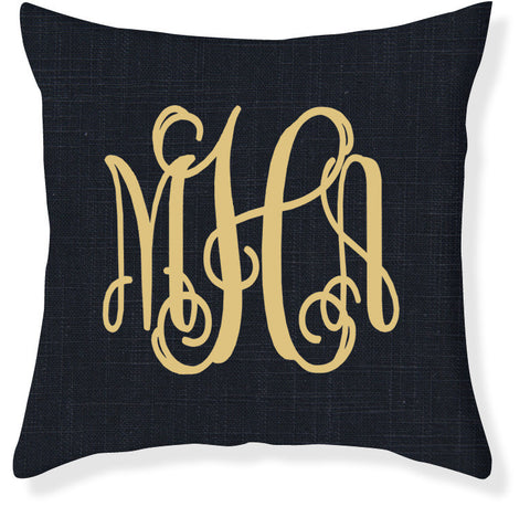 3-Letter Scroll Navy and Gold Monogram Pillow Cover