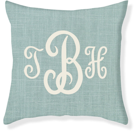 3-Letter Juliette Aqua and Cream Monogram Pillow Cover