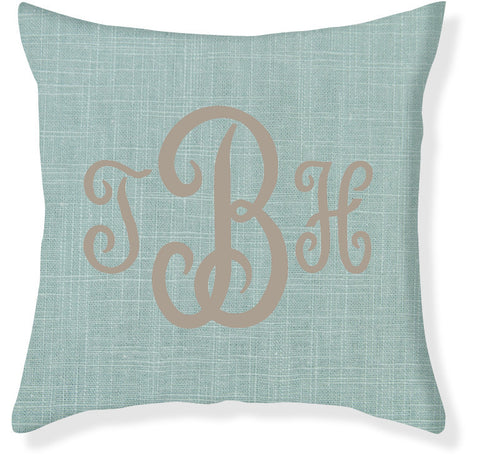 3-Letter Juliette Aqua and Taupe Monogram Pillow Cover