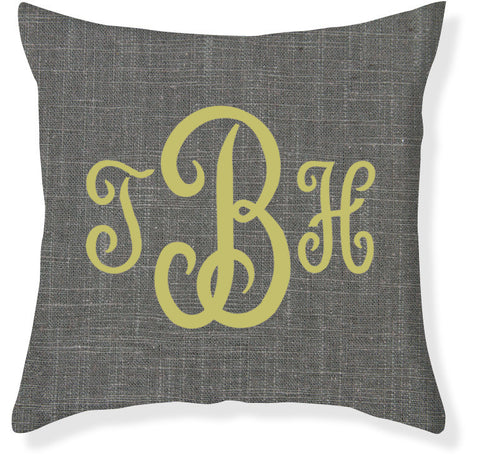 3-Letter Juliette Charcoal and Citron Monogram Pillow Cover