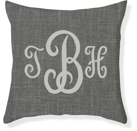 3-Letter Juliette Charcoal and Silver Monogram Pillow Cover