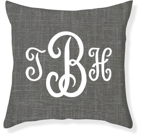3-Letter Juliette Charcoal and White Monogram Pillow Cover