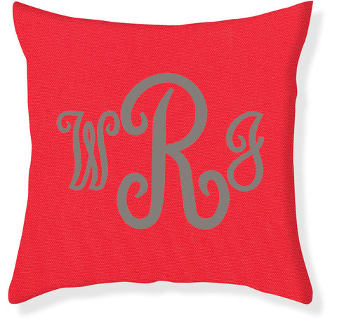 3-Letter Juliette Coral and Gray Monogram Pillow Cover