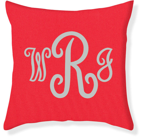 3-Letter Juliette Coral and Silver Monogram Pillow Cover