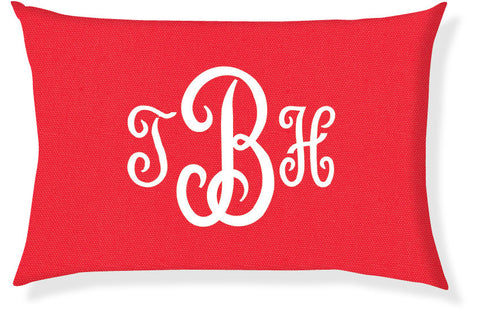 3-Letter Juliette Coral and White Monogram Pillow Cover
