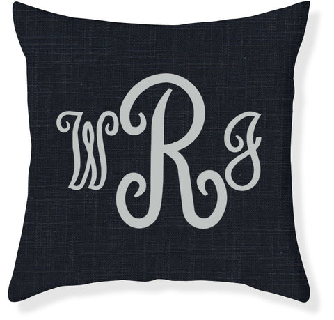 3-Letter Juliette Navy and Silver Monogram Pillow Cover