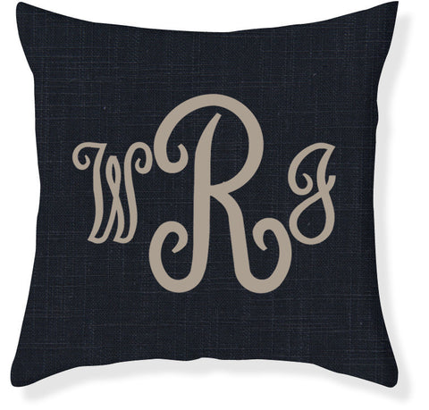 3-Letter Juliette Navy and Taupe Monogram Pillow Cover