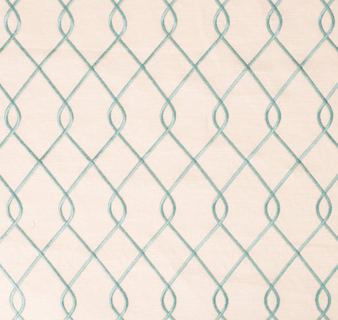 Embroidered Trellis Aqua Fabric by the Yard