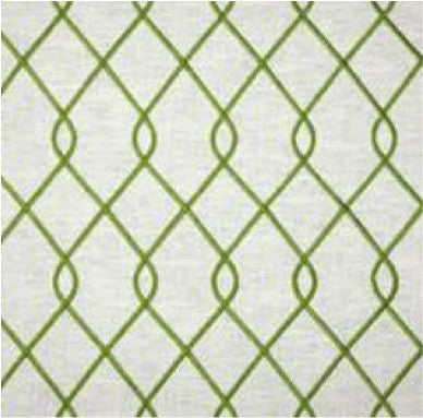 Embroidered Trellis Green Fabric by the Yard