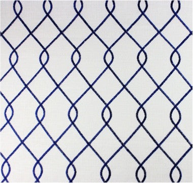 Embroidered Trellis Navy Fabric by the Yard