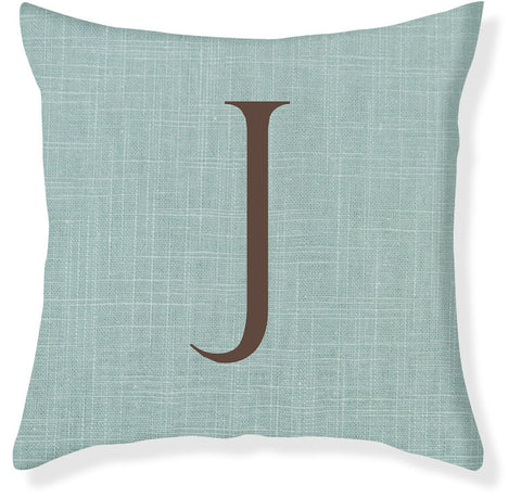 1-Letter Block Aqua and Brown Monogram Pillow Cover