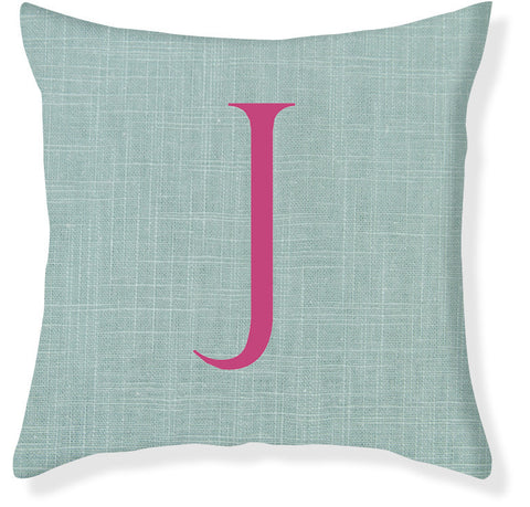 1-Letter Block Aqua and Raspberry Monogram Pillow Cover