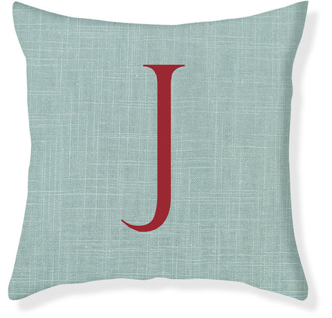 1-Letter Block Aqua and Red Monogram Pillow Cover