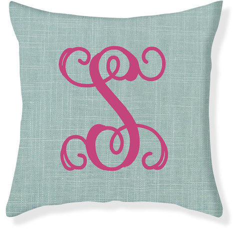 1-Letter Scroll Aqua and Raspberry Monogram Pillow Cover