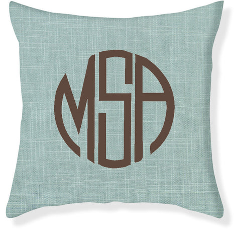 3-Letter Circle Aqua and Brown Monogram Pillow Cover