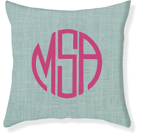 3-Letter Circle Aqua and Raspberry Monogram Pillow Cover
