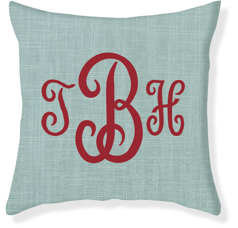 3-Letter Juliette Aqua and Red Monogram Pillow Cover