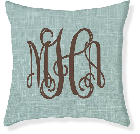 3-Letter Scroll Aqua and Brown Monogram Pillow Cover