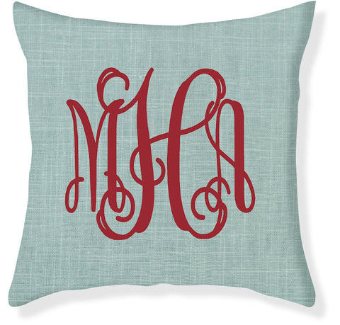 3-Letter Scroll Aqua and Red Monogram Pillow Cover