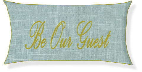 """Be Our Guest"" Aqua and Citron Pillow Cover"