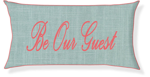 """Be Our Guest"" Aqua and Coral Pillow Cover"