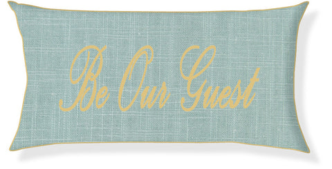 """Be Our Guest"" Aqua and Gold Pillow Cover"