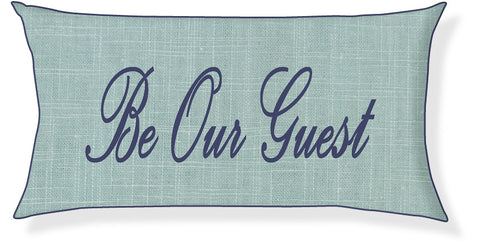 """Be Our Guest"" Aqua and Navy Pillow Cover"