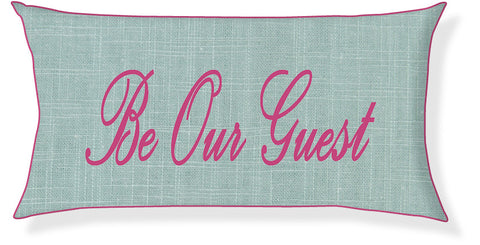 """Be Our Guest"" Aqua and Raspberry Pillow Cover"