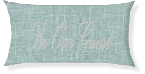 """Be Our Guest"" Aqua and Silver Pillow Cover"