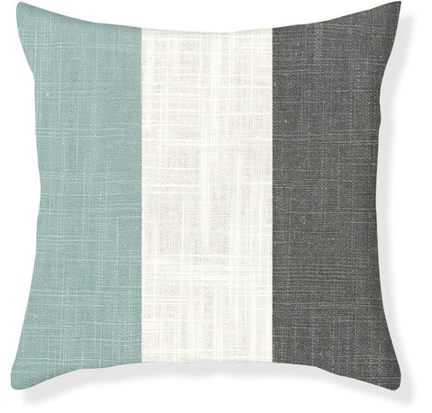 Aqua and Charcoal Colorblock Pillow Cover