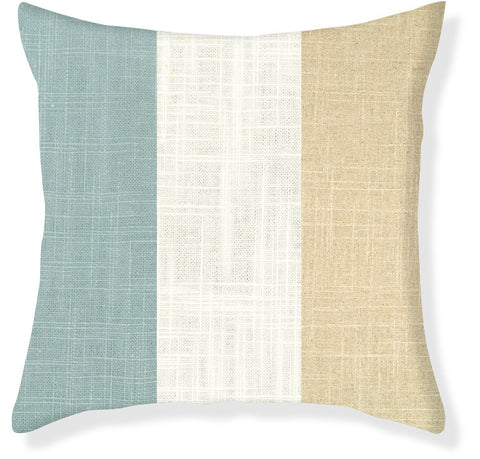 Aqua and Linen Colorblock Pillow Cover