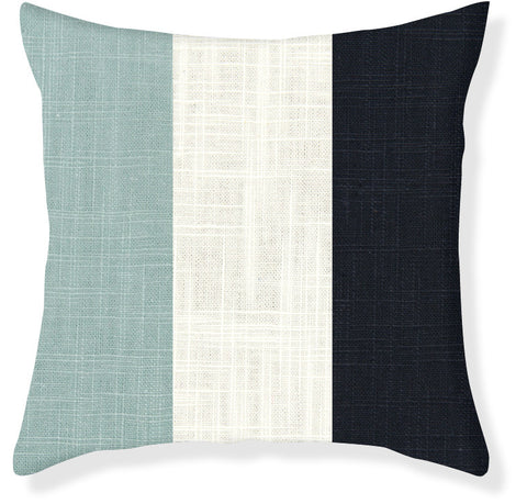 Aqua and Navy Colorblock Pillow Cover