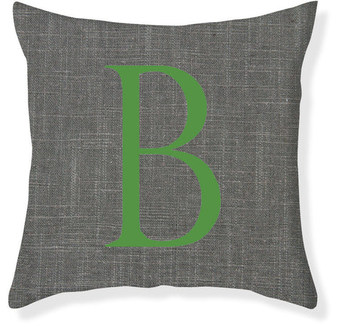1-Letter Block Charcoal and Emerald Monogram Pillow Cover