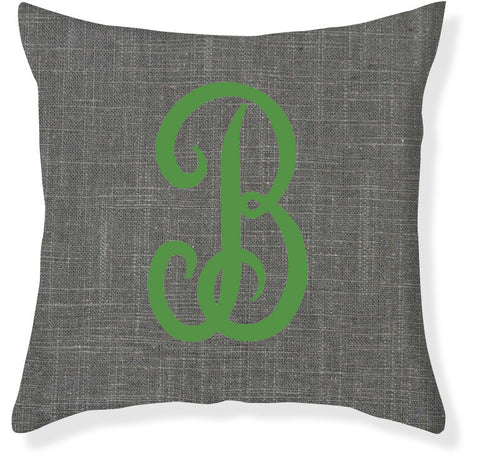 1-Letter Juliette Charcoal and Emerald Monogram Pillow Cover