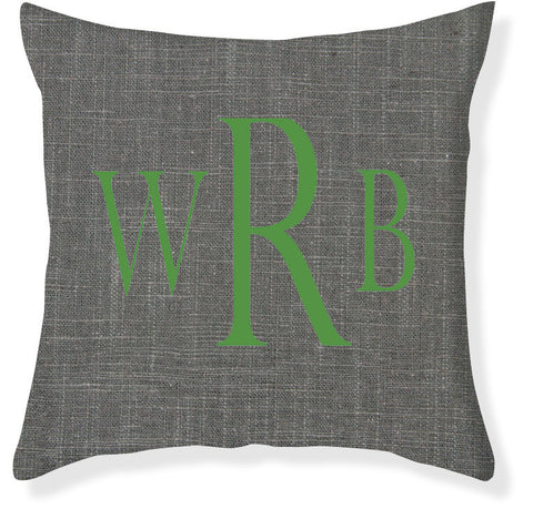 3-Letter Block Charcoal and Emerald Monogram Pillow Cover
