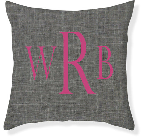 3-Letter Block Charcoal and Raspberry Monogram Pillow Cover