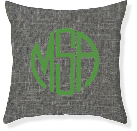 3-Letter Circle Charcoal and Emerald Monogram Pillow Cover