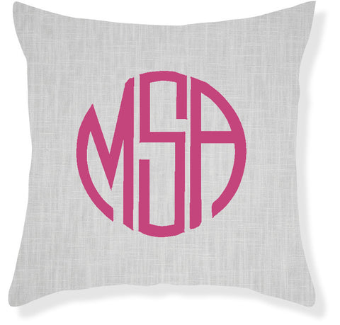 3-Letter Circle Gray and Raspberry Monogram Pillow Cover