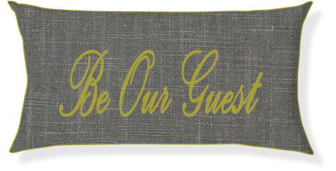 """Be Our Guest"" Charcoal and Citron Pillow Cover"