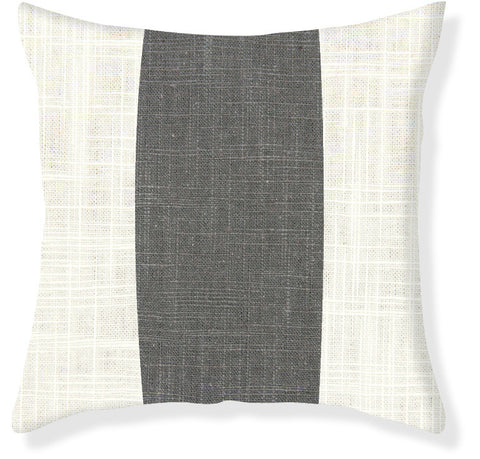 Charcoal Racer Stripe Pillow Cover