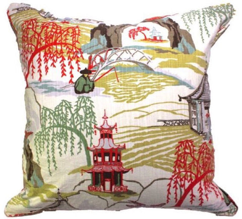 Chinoiserie Coral Pillow Cover