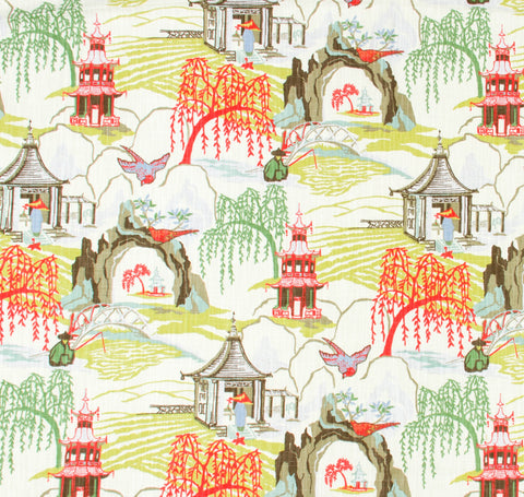 Chinoiserie Coral Fabric by the Yard
