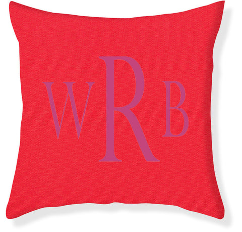 3-Letter Block Coral and Raspberry Monogram Pillow Cover