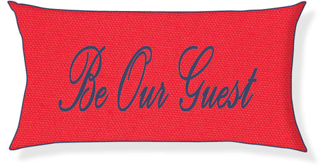 """Be Our Guest"" Coral and Navy Pillow Cover"