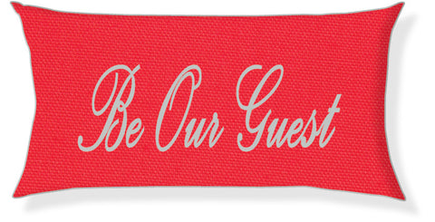 """Be Our Guest"" Coral and Silver Pillow Cover"