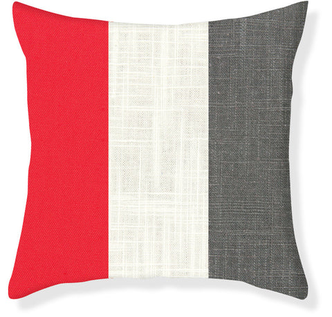 Coral and Charcoal Colorblock Pillow Cover