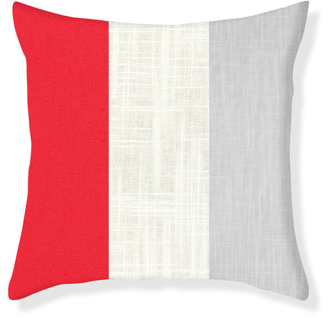 Coral and Gray Colorblock Pillow Cover