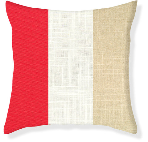 Coral and Linen Colorblock Pillow Cover