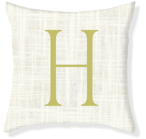 1-Letter Block Cream and Citron Monogram Pillow Cover