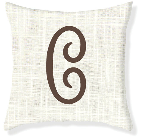 1-Letter Juliette Cream and Brown Monogram Pillow Cover